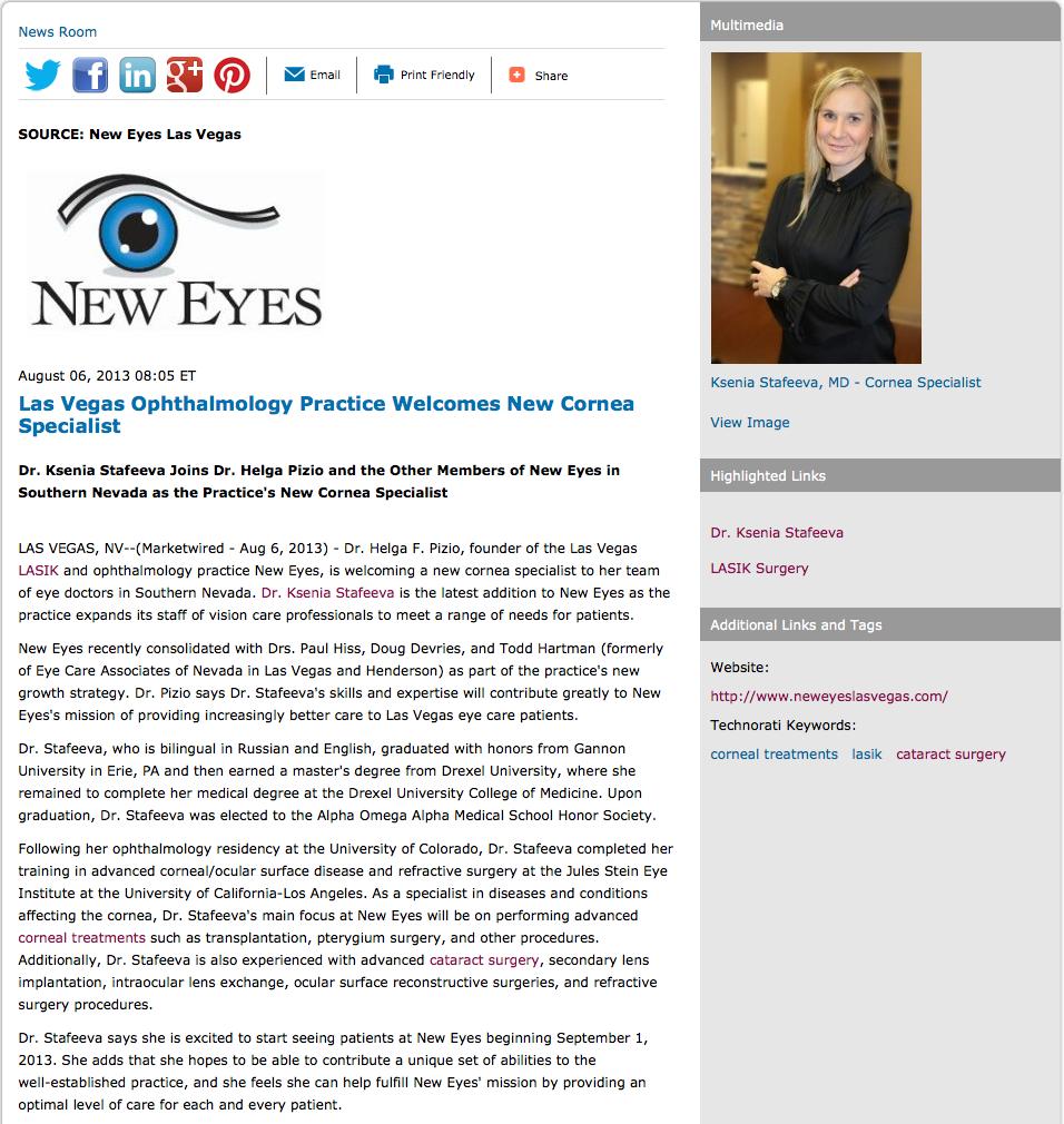 Las Vegas Ophthalmology Practice Welcomes New Cornea ...